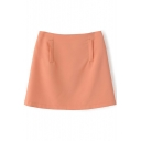 Orange Plain Zippered Loose Flare Skirt