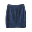 Blue Vintage High Waist A-line Denim Skirt