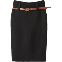 Basic Knitting Pencil Skirt with Belt