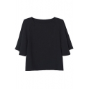 Black Loose Short Sleeve Crop Basic Blouse
