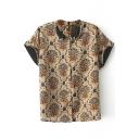 Short Sleeve Court Vintage Pattern Babydoll Lapel Shirt