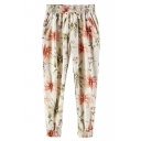 Light Color Print Elastic Waist Harem Pants