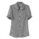 Short Sleeve Ruffle Trim Stripe Ladylike Chiffon Shirt