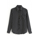 Black Long Sleeve White Dot Chiffon Shirt