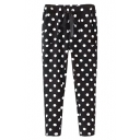Polka Dot Print Drawstring Waist Loose Pants
