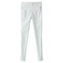 White Ruffled Pocket Skinny Pants