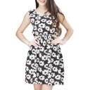 Black Sleeveless White Daisy Print Dress