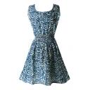 Scoop Neck  Sleeveless  Rose Print Dress