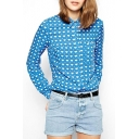 Blue Heart Print Long Sleeve Single Breast Blouse