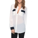 White Long Sleeve Color Block Chiffon Blouse