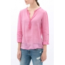 Pink Lace V-Neck Long Sleeve Blouse