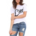 Black Ciao Print White T-Shirt