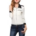 White Long Sleeve Double Pockets Black Insert Office Lady Style Shirt