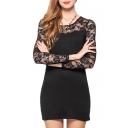Black Illusion Lace Flower Panel Shoulder Bodycon Dress