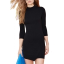 Black Round Neck 3/4 Sleeve Dress with Asymmetrical Hem