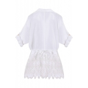 White Long Sleeve Lace Insert Hem White Blouse
