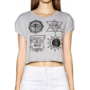 Gray Short Sleeve  Totem Print Crop T-Shirt