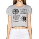 Gray Short Sleeve  Totem Print Crop T-Shirt