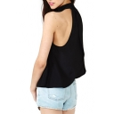 Black High Collar Sleeveless Loose Chiffon Blouse