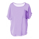 Purple Short Sleeve Pocket Front Chiffon Blouse