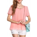 Pink Short Sleeve Pleated Chiffon Blouse