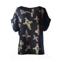 Short Sleeve Cross Diamond Print Chiffon T-Shirt