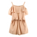 Pink Off-the-Shoulder Strap Ruffle Layer Chiffon Rompers