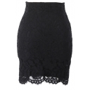 Plain Lace Inserted Mini Skirt with Zipper Fly