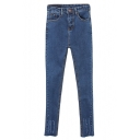 Blue Light Wash Stitch Detail Stretch Denim Jeans with Zipper Fly
