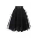 Mesh Polka Dot Layered A-Line Midi Skirt