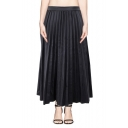 Plain High Waist Pleated PU Midi Skirt