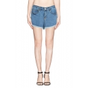 Dark Wash Mid Waist Plain Cuffed Denim Shorts
