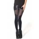 PU&Mesh Panel Bandage Style Black Sexy Leggings