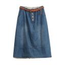 Blue Denim Elastic Waist Belted Lace Crochet Midi Skirt
