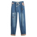 Star Embroidered Polka Dot Elastic Waist Drawstring Waist Jeans