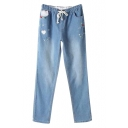 Light Wash Heart Embroidered Elastic Pockets Jeans