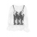 Ladylike White Lace Cutwork Illusion Blouse with Black Camis