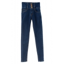High Waist Four Button Fly Skinny Pencil Denim Pants