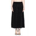Tiny Dot Pattern Elastic Waist Midi Chiffon Skirt