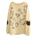 Comics Kitten Print Cute Style Sweatshirt