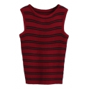 Double Stripe Pattern Knitting Vest