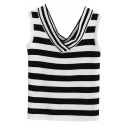 Fitted Stripe Print C-Neck Sleeveless Crop Knit Tank