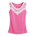 Candy Color Lace Crochet Cutout Round Neck Fitted Tank