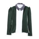 Color Block Lapel Long Sleeve Chiffon Woolen Crop Blouse