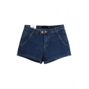 Dark Blue Fake Pockets Front Zipper Fly Denim Shorts
