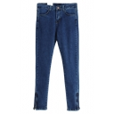 Blue Denim Zipper Legs High Waist Pencil Jeans