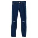 Denim Open Knees Fitted High Waist Pencil Jeans