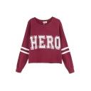 HERO&Stripe Print Sports Style Crop Sweatshirt