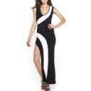 Sleeveless V-Neck Color Block Maxi Dress with Side Split