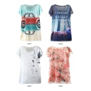 Car Letter Animal Floral Print Batwing Sleeve  Loose T-Shirt